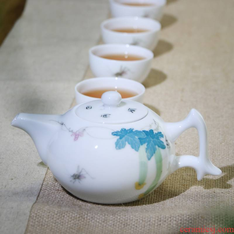 A complete set of new Chinese style of kung fu tea set glaze color hand - made six cups of the work under the domestic tea gifts