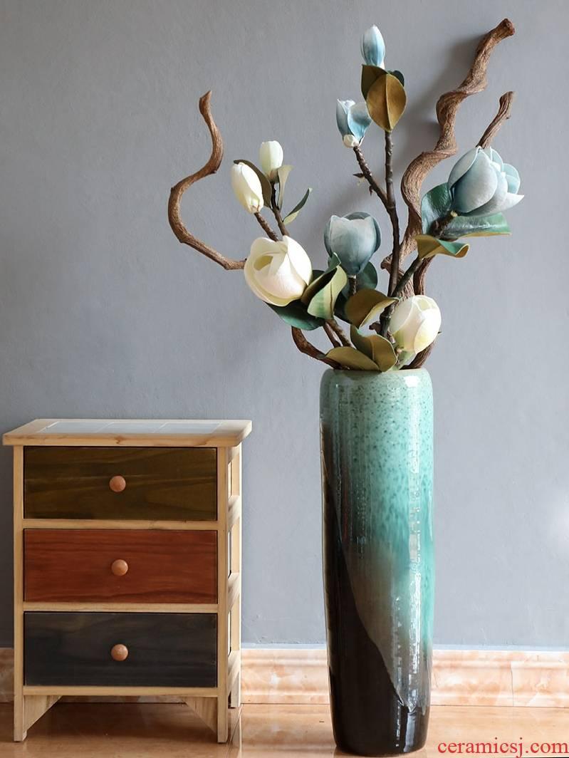 American jingdezhen ceramic vase flower arrangement of large living room furnishing articles of Chinese style porch lattice Windows - lucky bamboo bottles