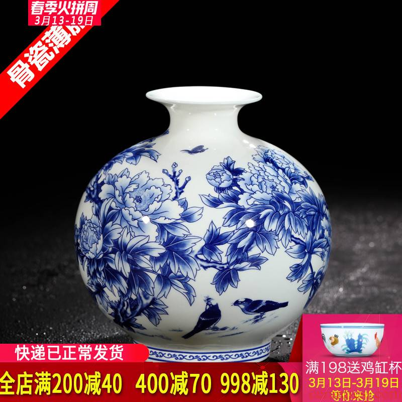 Jingdezhen ceramics antique blue and white peony ipads - in glazed porcelain vases modern Chinese style living room decoration furnishing articles