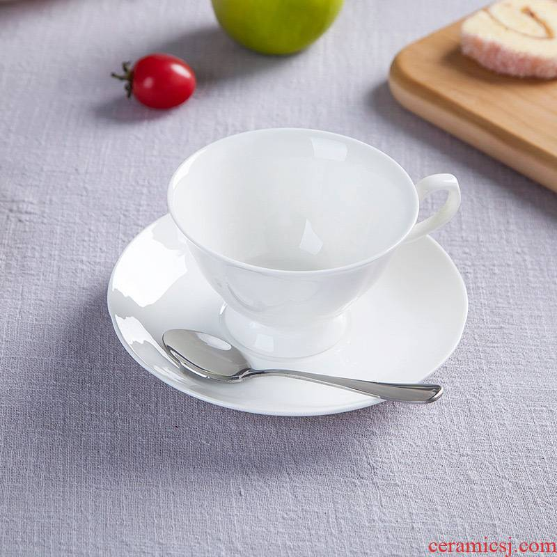 Pure white ipads porcelain of jingdezhen ceramic cup tea coffee set suit European contracted coffee cups and saucers