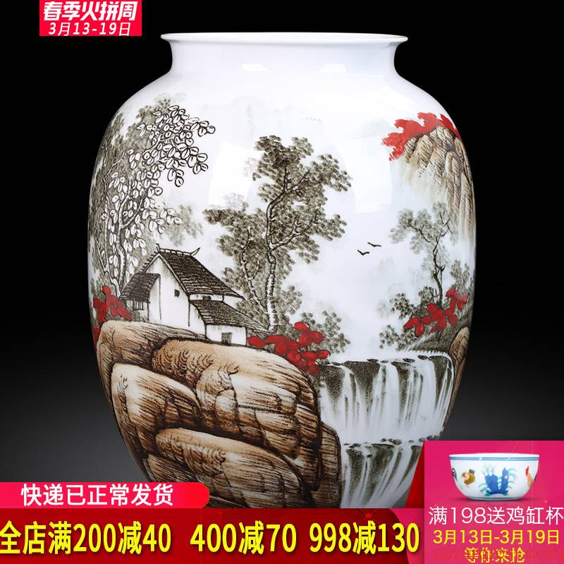 Jingdezhen ceramics landscape hand - made vases, flower arranging new Chinese style household act the role ofing is tasted, the sitting room porch decoration furnishing articles