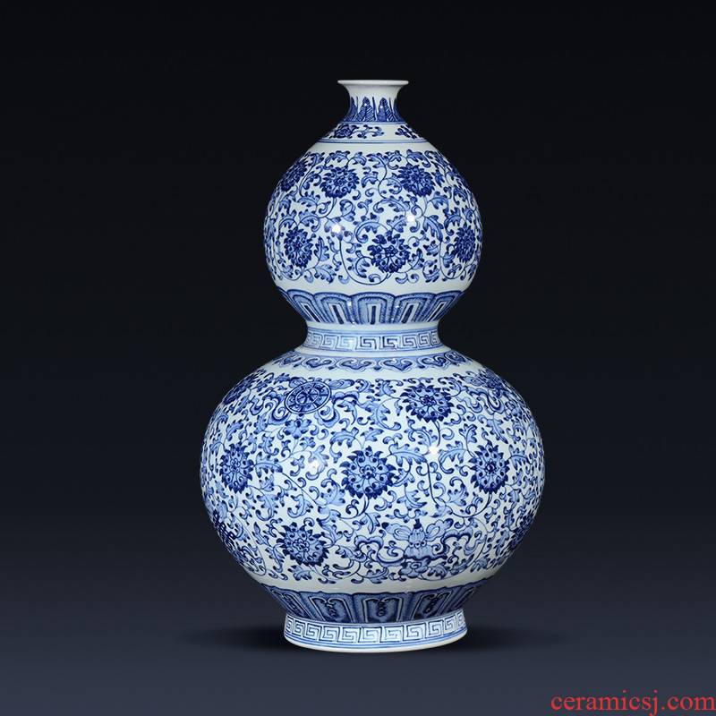 Jingdezhen ceramics imitation qianlong blue tie up branch lotus the gourd of the sitting room porch decoration of the new Chinese style furnishing articles