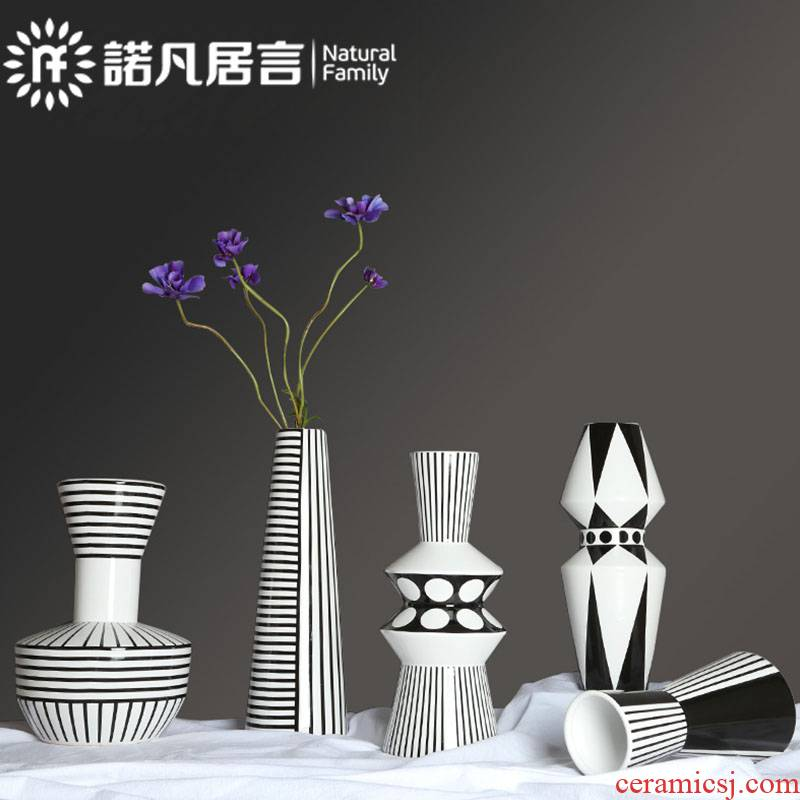 Nordic ceramic vase mesa place dry flower arranging flowers sitting room decoration in hotel American I and contracted creative, black and white