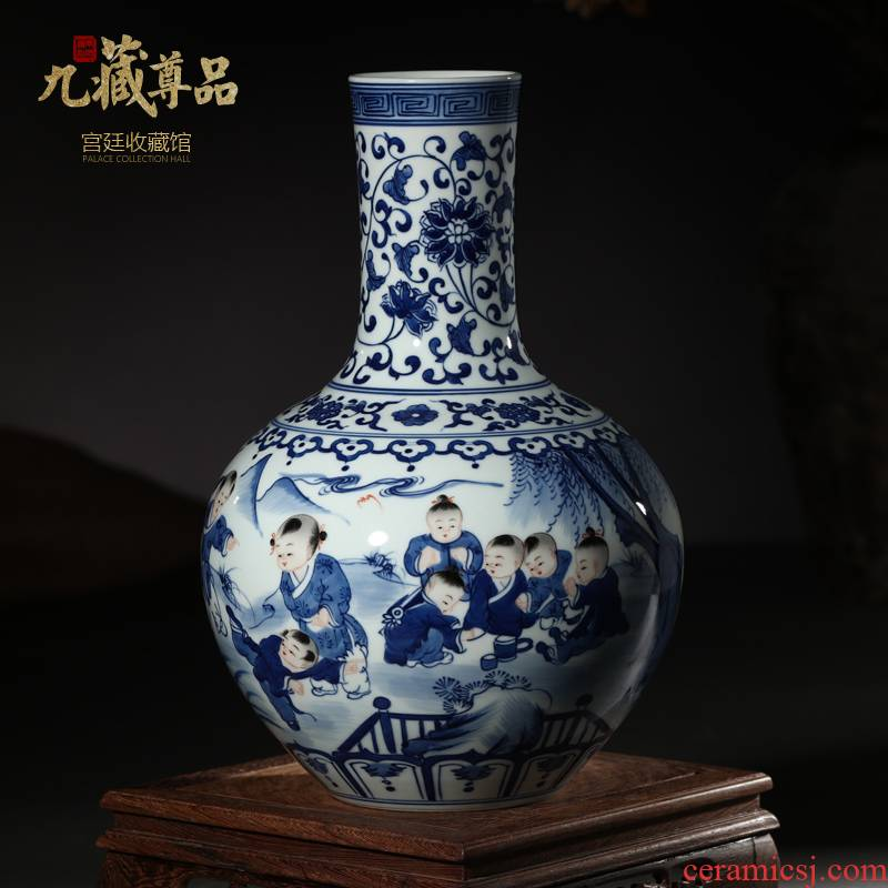 Archaize the qing qianlong hand - made porcelain of jingdezhen ceramics bucket color baby play figure tree decorations that occupy the home furnishing articles