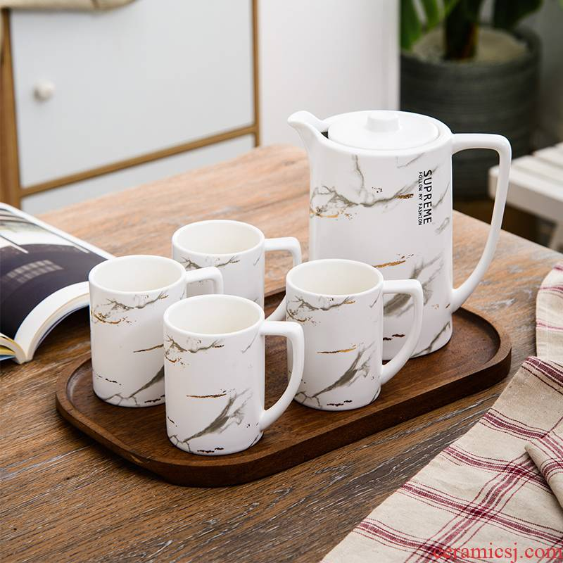 Nordic light water suit ceramics home sitting room high - end European - style key-2 luxury glass cup tea set with pallets