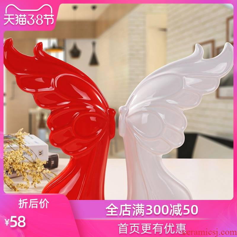Modern ceramic arts and crafts creative wedding furnishing articles wine TV ark, sitting room adornment is placed butterfly lovers