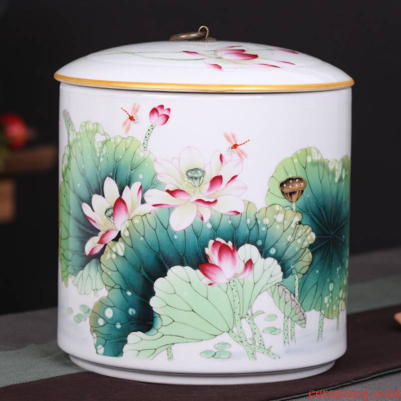 Jingdezhen pu 'er tea storage tanks tank ceramic large bread receives, the seventh, peulthai the household storage tank 10 jins