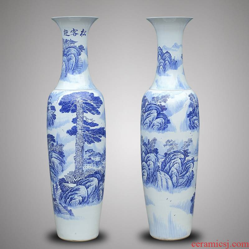 Jingdezhen ceramics of large blue and white porcelain vase 1 m 6-2 meters guest - the greeting pine Chinese style hotel gift sitting room