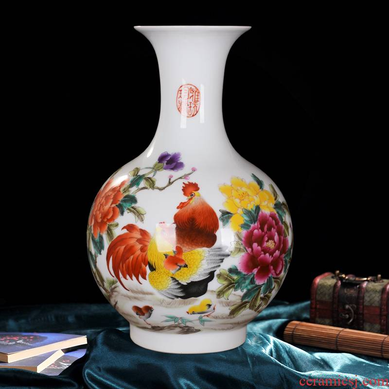 Jingdezhen ceramics powder enamel vase rooster hand - made photo bottles of sitting room furniture handicraft furnishing articles