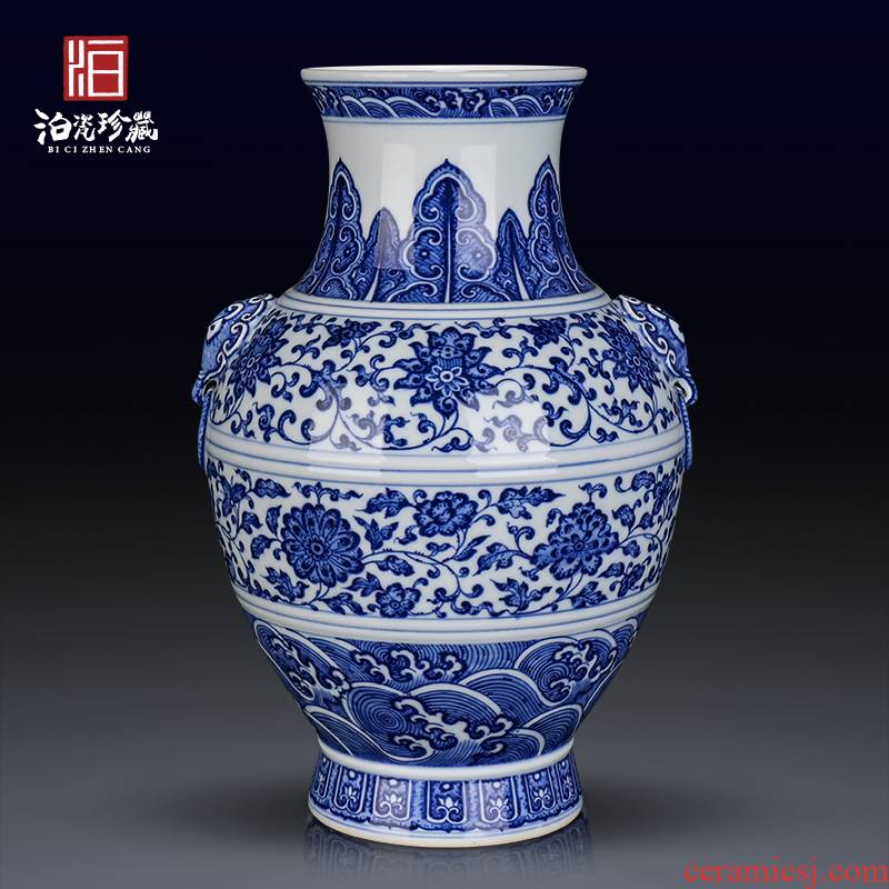 Jingdezhen ceramics archaize sitting room porch bedroom TV cabinet table of blue and white porcelain vase decoration furnishing articles