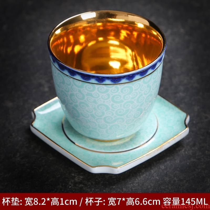 Large sample tea cup kung fu tea set of blue and white porcelain ceramic tea cup mat individual cup single CPU master cup accessories