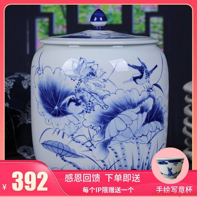Jingdezhen ceramic hand - made porcelain tea pot store receives seven loaves manual large seal storage tank tea cake tin