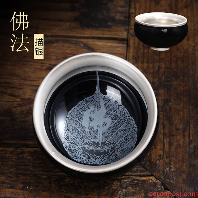 Kung fu coppering. As silver cup silver cup 999 sterling silver bladder ceramic masters cup sample tea cup hat to glass cup
