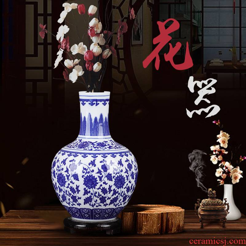 Jingdezhen blue and white porcelain vases, flower arranging furnishing articles archaize sitting room of Chinese style household ceramics rich ancient frame trinkets