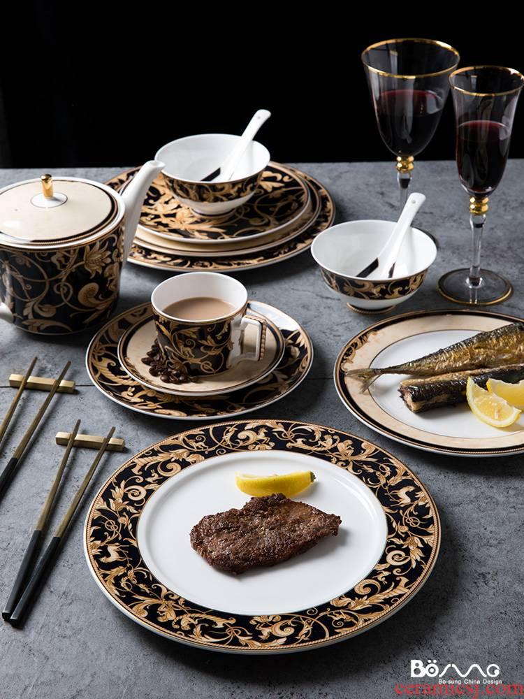 "The ""Good light and decoration style unicorn ceramic up phnom penh dish beefsteak dish bowl home plate suit"
