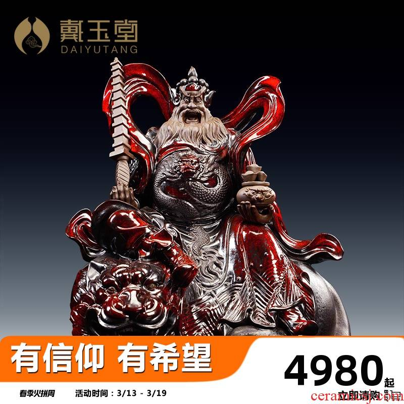 Yutang dai wu mammon Zhao Gongming rides a tiger is wealth gods ceramic flame red glaze process of Buddha the opened the gift