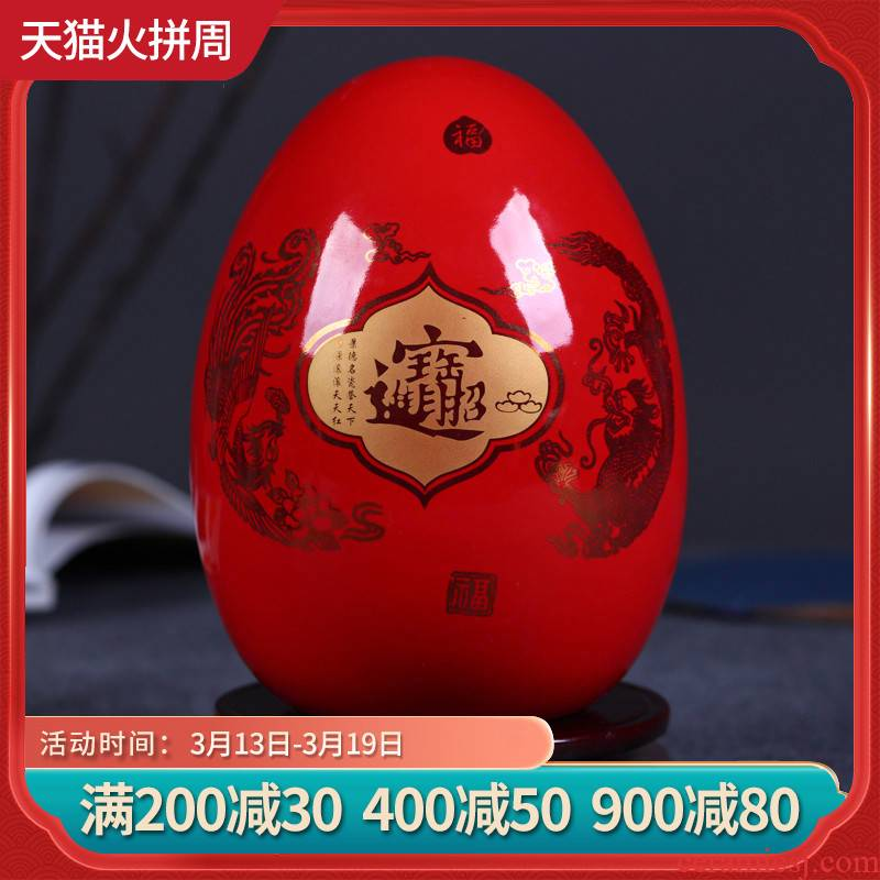 Jingdezhen ceramics China red f egg vase furnishing articles fortune Chinese style decorates sitting room office furnishing articles