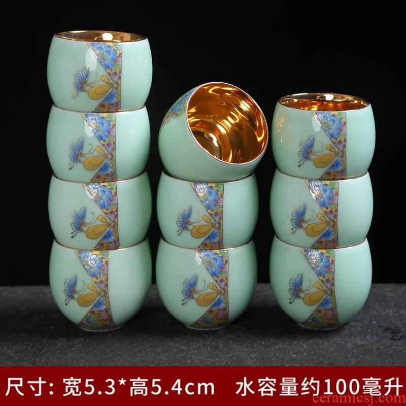 "Longquan celadon teacup tea set office sharply stone kung fu tea tray ceramic teapot single cup ""the whole household"