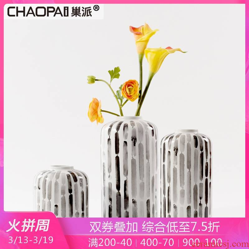 The creative style of modern ink painting ceramic flower arranging device furnishing articles floor hall wine edge ano vase soft decoration