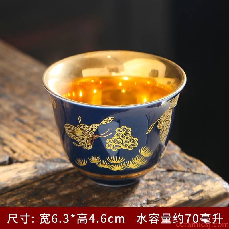 Colored enamel kung fu tea cups ceramic sample tea cup with personal cup of tea service master single cup tea cups of ceramic tea set