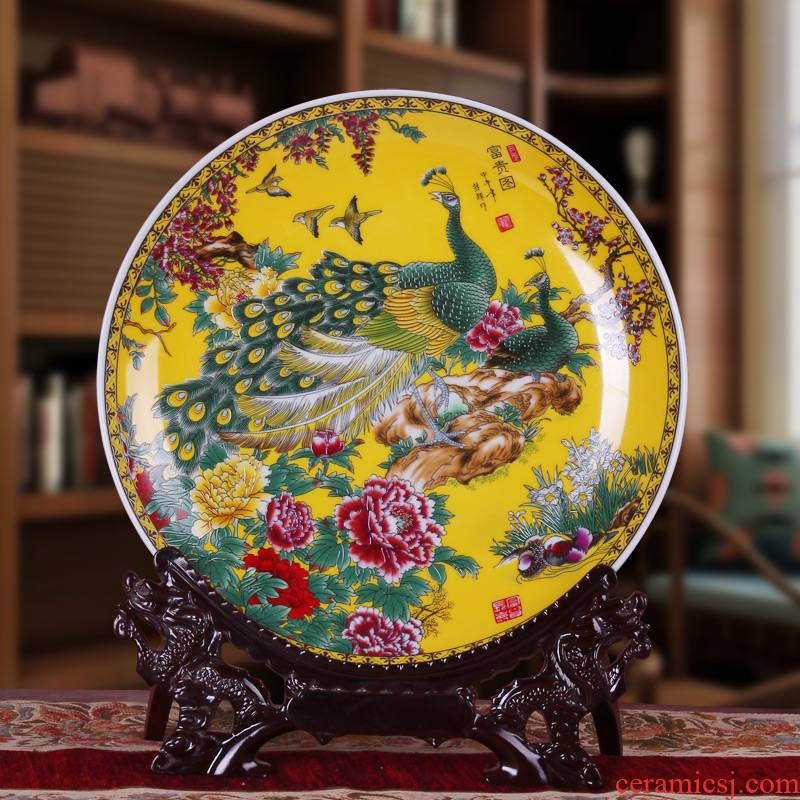 Jingdezhen ceramics yellow peacock peony hang dish decorative plate modern household adornment handicraft furnishing articles