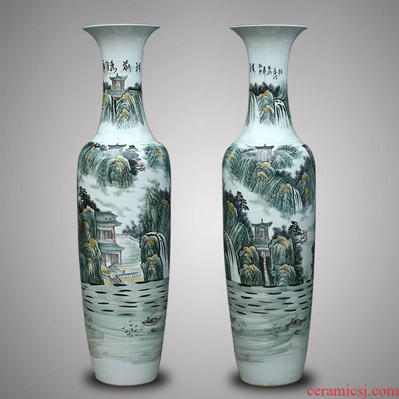 Jingdezhen ceramics hand - made large vases, Chinese style hotel lobby hall decorations furnishing articles business gifts
