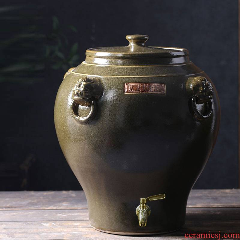 Jingdezhen ceramic jar jar high - grade tank cylinder barrel with leading 50-100 kg terms ceramic wine jars