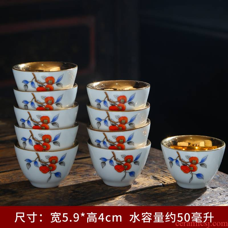 Silver colored enamel master cup 999 sterling Silver single CPU ceramic cups restoring ancient ways is tasted Silver gilding Silver sample tea cup kung fu tea set