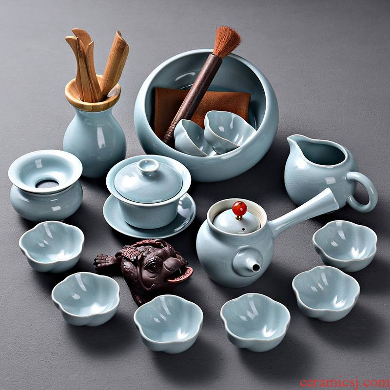 A good laugh with your up tea set A complete set of azure start your porcelain kung fu tea teapot set of tea cups