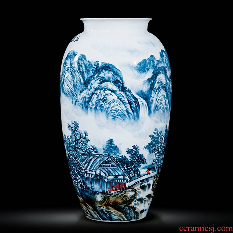 Jingdezhen ceramics celebrity hand - made the master of landscape painting large vases, home sitting room office hotel furnishing articles
