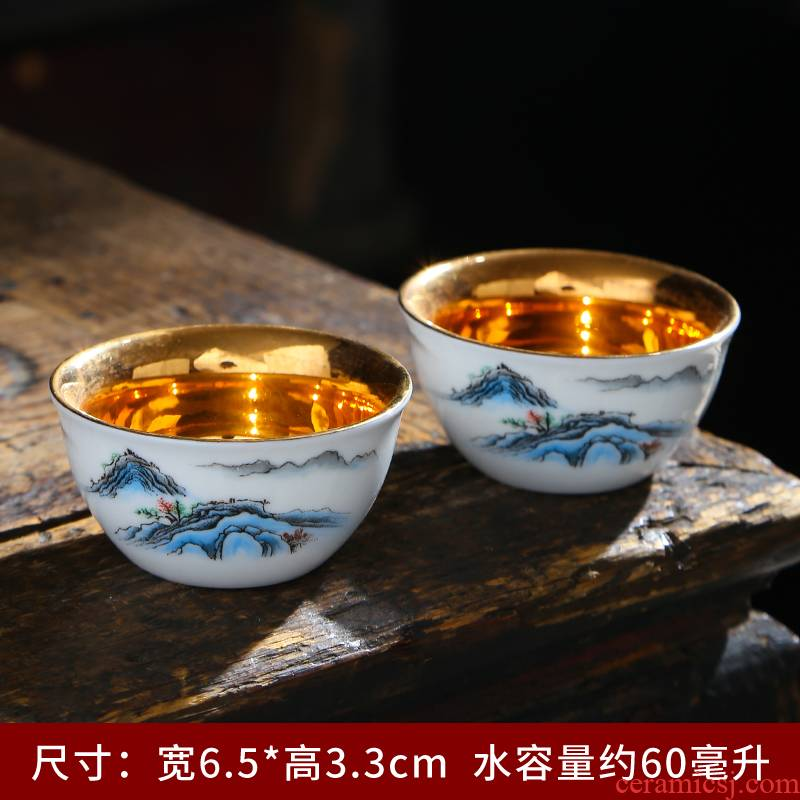 Suet jade porcelain hand - made teacup dehua white porcelain craft individual cup sample tea cup ceramic masters cup single cup gift