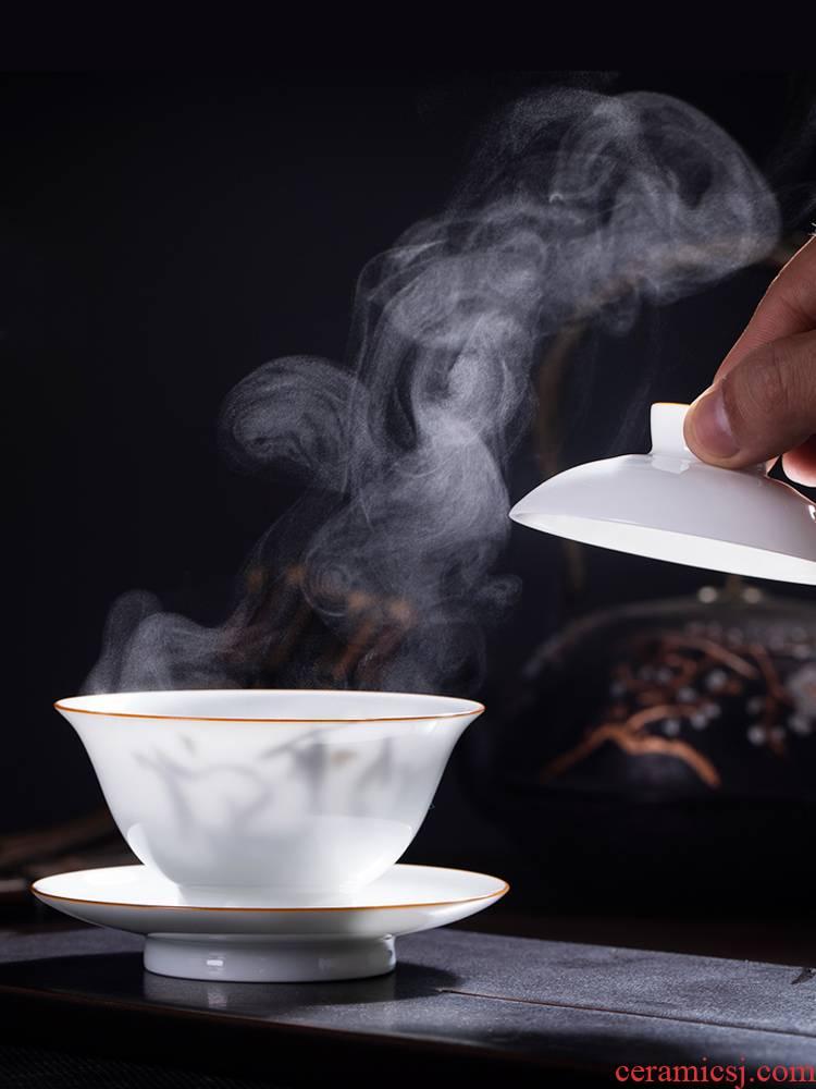 Gentleman 's gift pure manual tureen jingdezhen porcelain cups kung fu tea bowl thin foetus three tureen suit