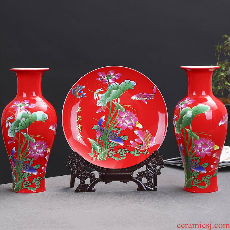 Jingdezhen ceramics red every year more than three - piece decorative plate of vases, flower arrangement sitting room adornment is placed