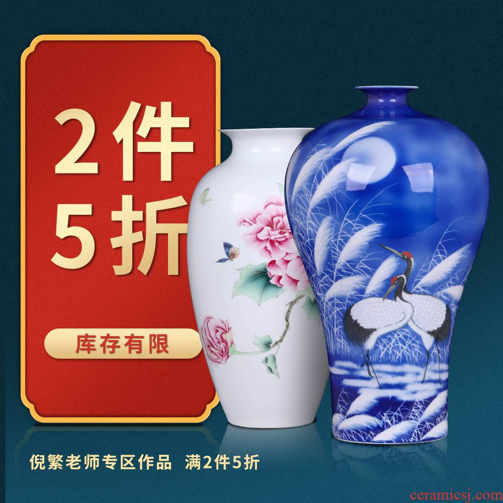 2 pieces of 5 fold down the jingdezhen famous ni numerous head of hand - made ceramic vases, flower arranging furnishing articles sitting room adornment