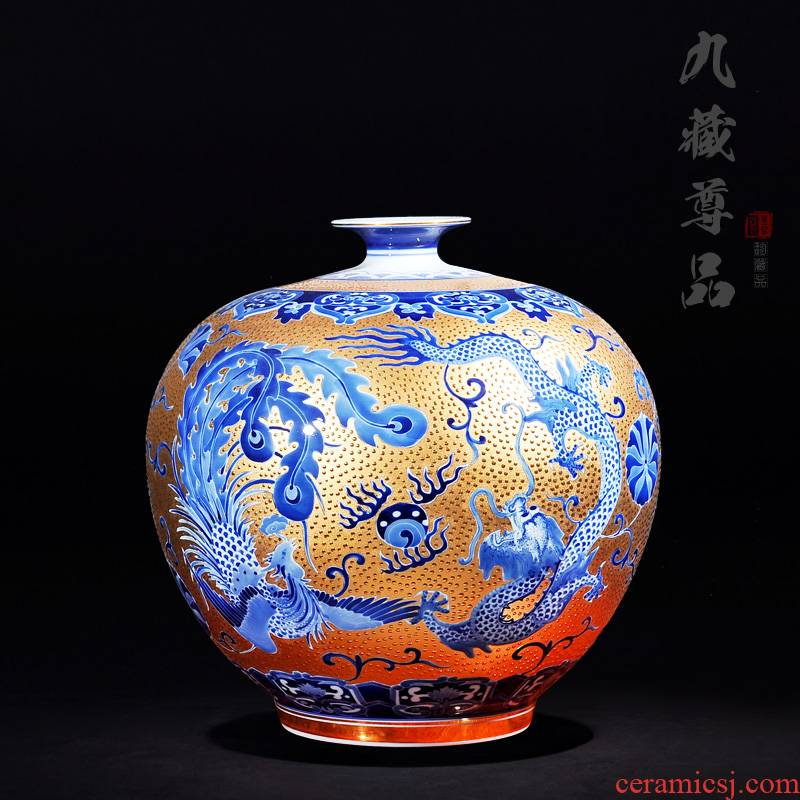 Jingdezhen ceramics classic antique hand - made with Jin Longfeng pomegranate bottle craft ornaments furnishing articles new vase