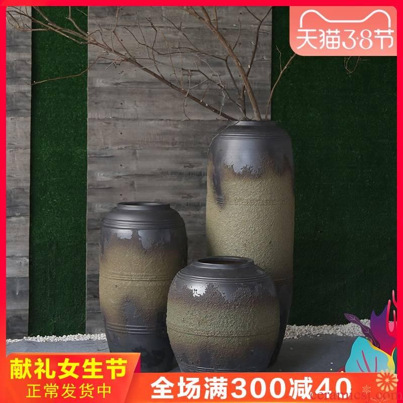 Jingdezhen ceramic vase dated pottery club theme garden villa large flower, flower receptacle