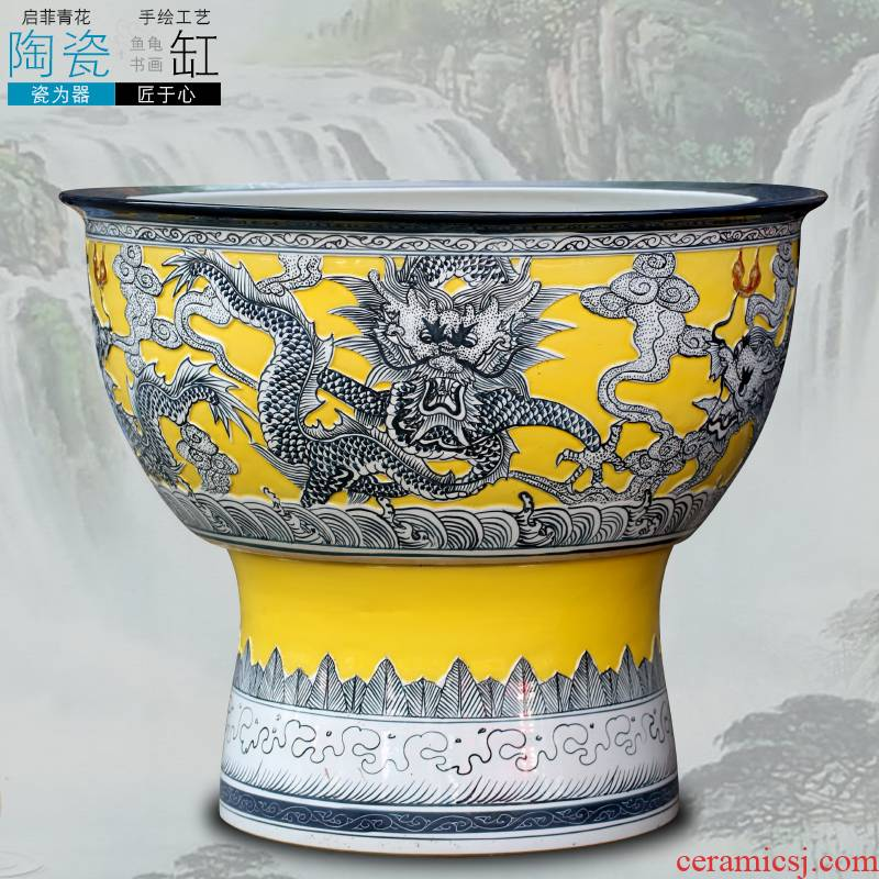 Jingdezhen color glaze its dragon design ceramic aquarium home sitting room courtyard hall floor furnishing articles ornaments