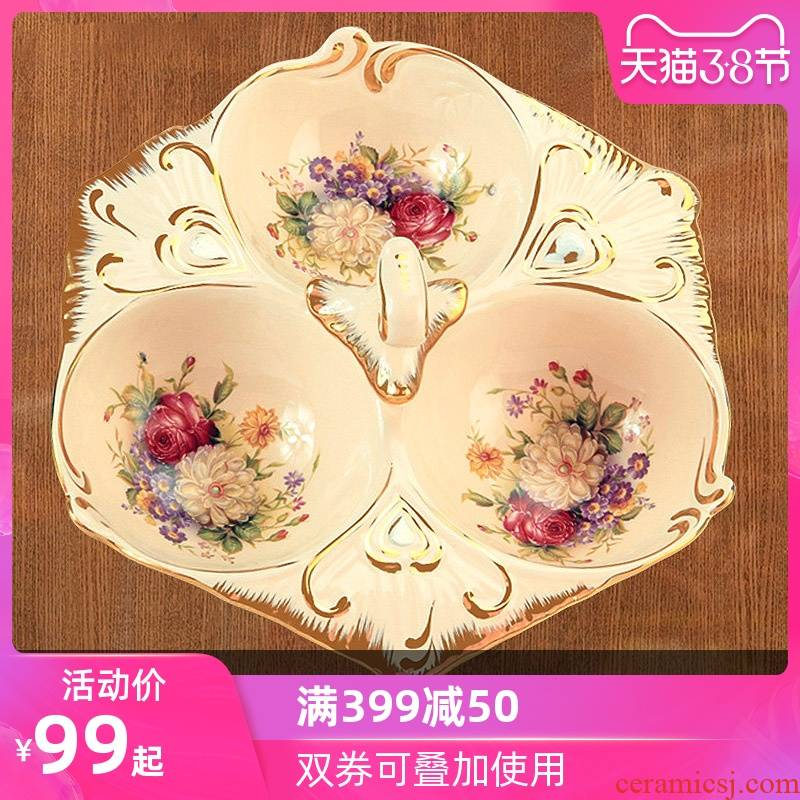 Vatican Sally 's Chinese New Year Spring Festival with ceramic candy dishes dry fruit tray was European creative points, snack plate melon seed plate is placed