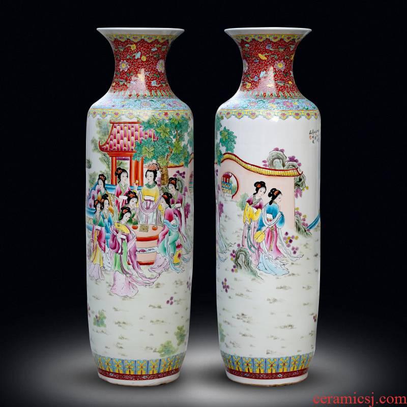 Jingdezhen ceramics hand - made pastel jinling twelve women of landing the big vases, Chinese style living room decorations furnishing articles