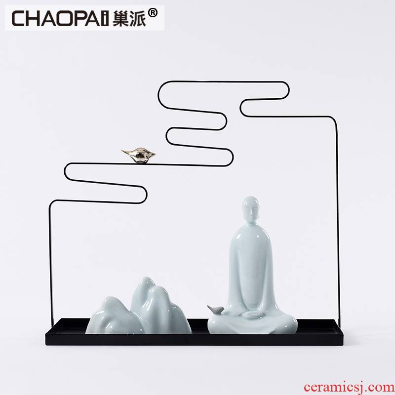 Imitation jade zen meditation meditation ceramics characters furnishing articles of new Chinese style tea room porch ark that take, feel and ornaments