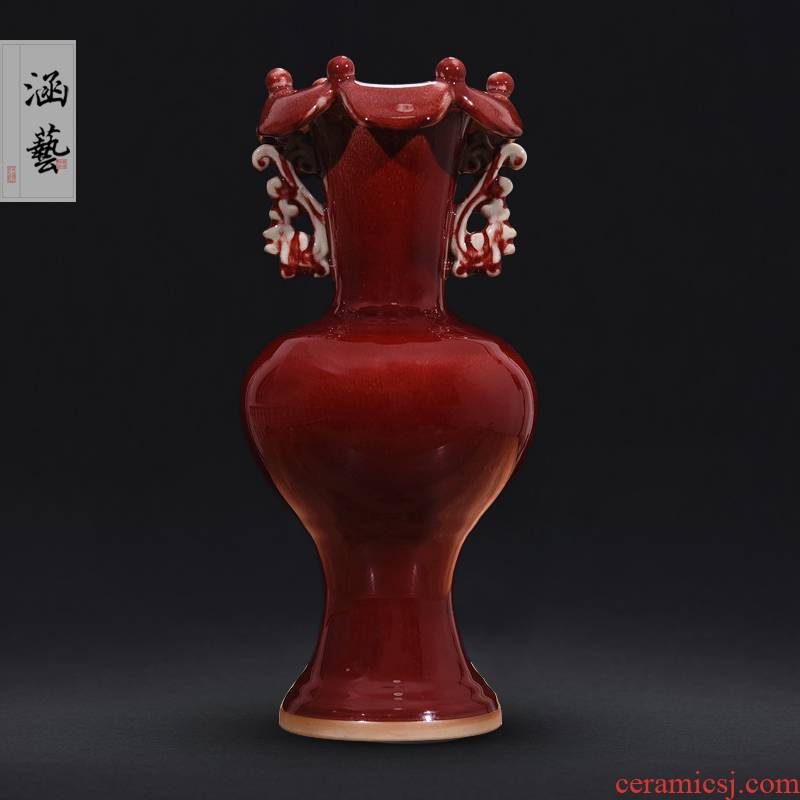 Jingdezhen ceramics lang red glaze up ears vases, new Chinese style household act the role ofing is tasted sitting room adornment is placed the process