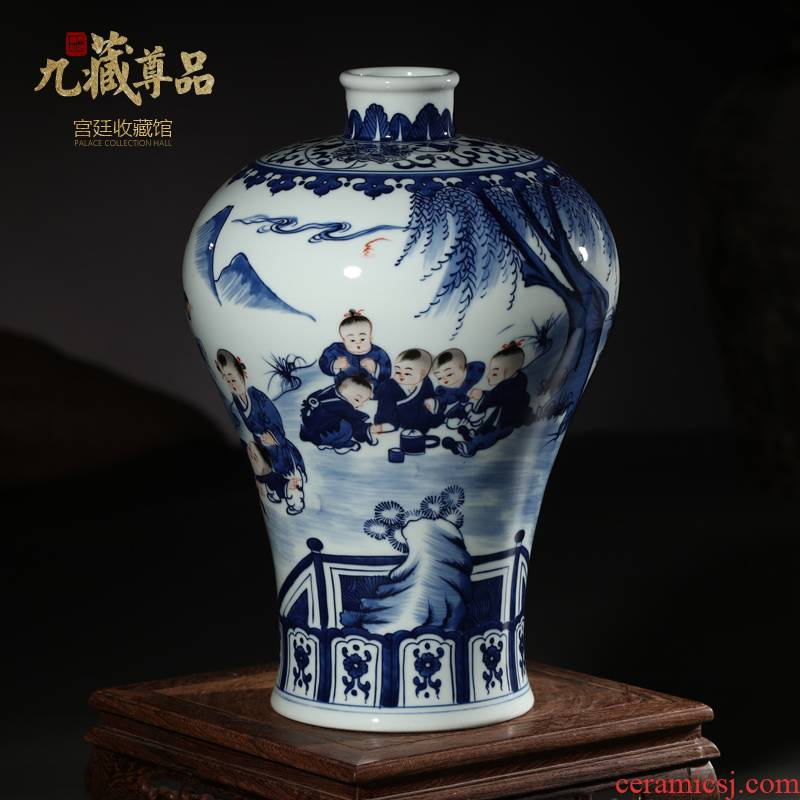 Antique hand - made porcelain of jingdezhen ceramics bucket color figure baby play mei bottles of Ming and the qing dynasties classical adornment that occupy the home furnishing articles