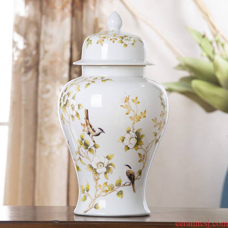 Jingdezhen ceramic general white pot vase furnishing articles large Chinese style living room dry flower flower arranging rich ancient frame ornaments