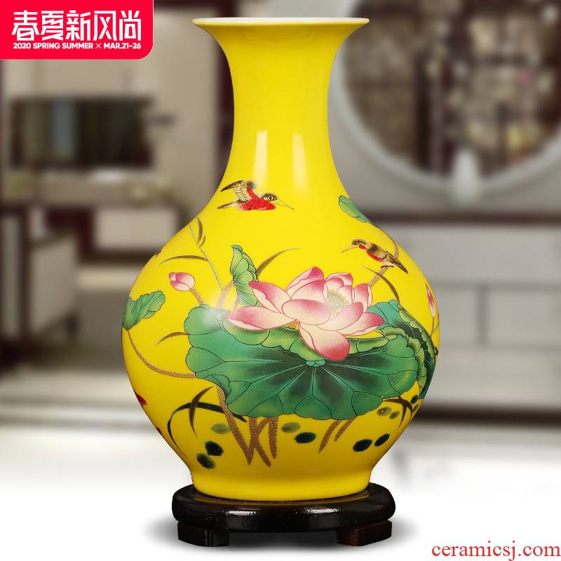 Jingdezhen ceramics yellow floret bottle of flower arranging furnishing articles of Chinese style living room TV cabinet household decorations arts and crafts