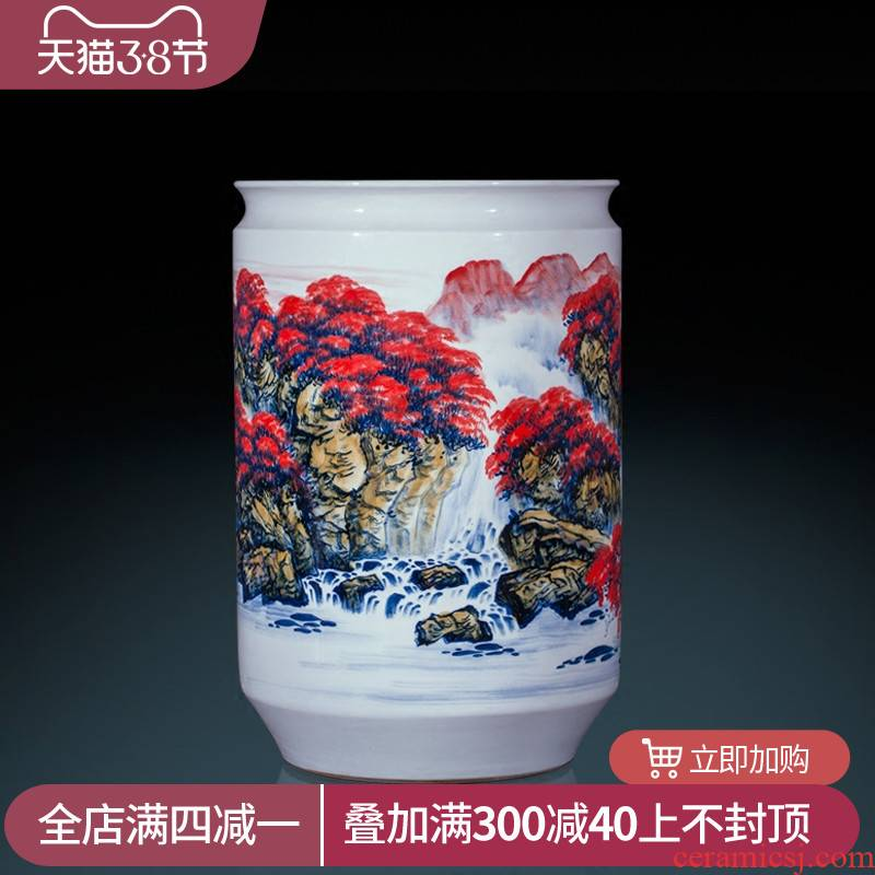 Jingdezhen ceramics famous hand - made landing big vase high furnishing articles furnishing articles sitting room adornment calligraphy and painting scroll cylinder