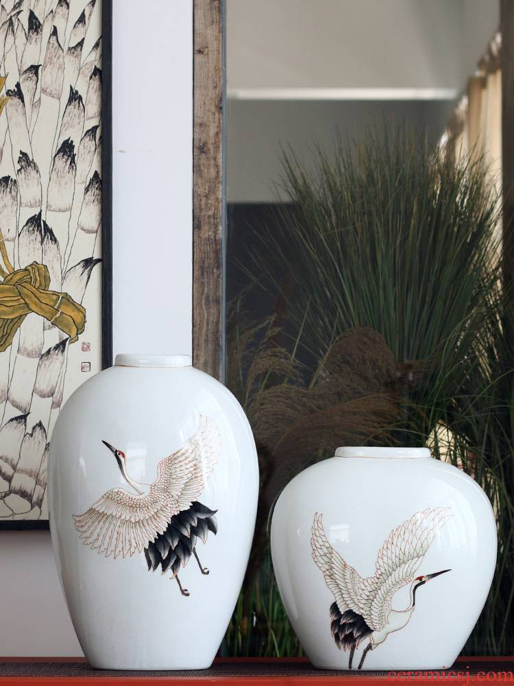 The New Chinese hand - made porcelain flying crane qingyun ice flower vases, flower implement furnishing articles clear soup WoGuo jingdezhen ceramics