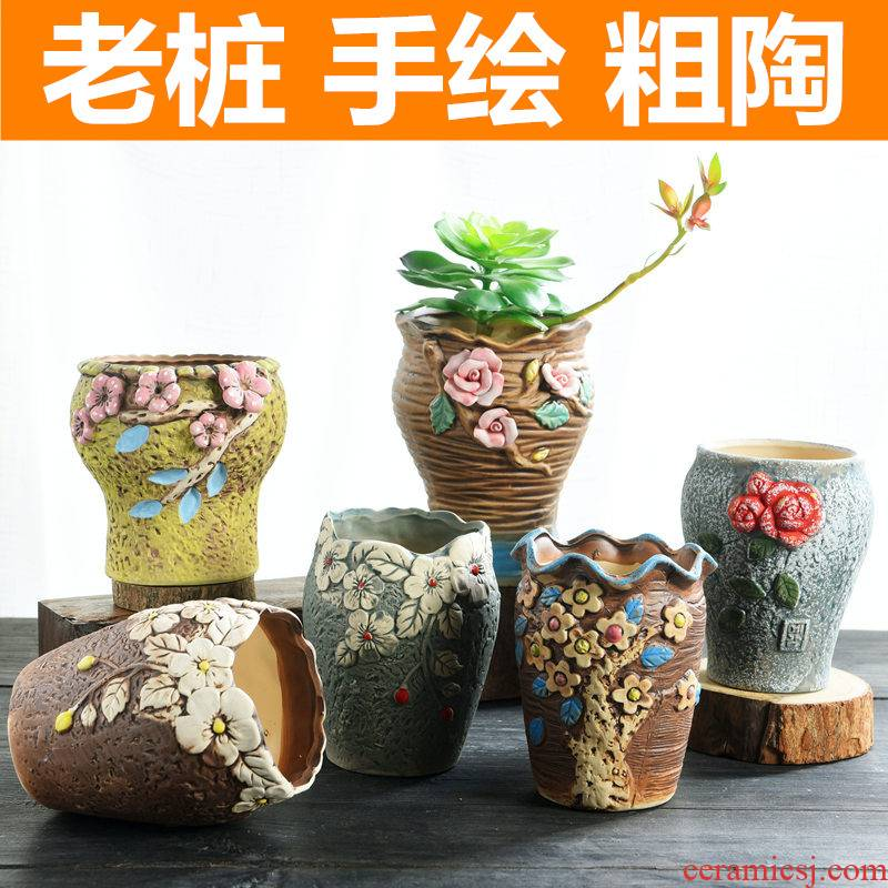Old running the pot clay ceramic retro zhuang zi mage, coarse pottery creative move meat meat large fleshy flower pot the plants