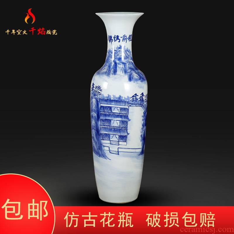 Jingdezhen ceramics of large blue and white porcelain vase the opened flower arranging hotel furnishing articles hand - made splendid sunvo sitting room
