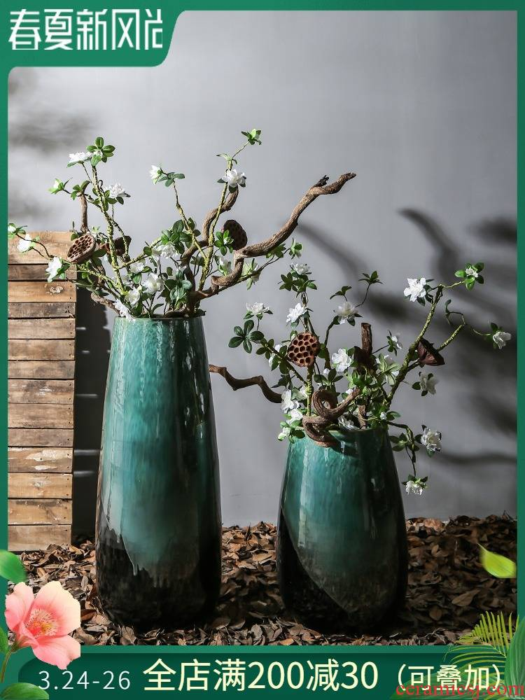 New Chinese style restaurant sitting room of large ceramic vase mall ambry furnishing articles to place a flower flower implement hotel company