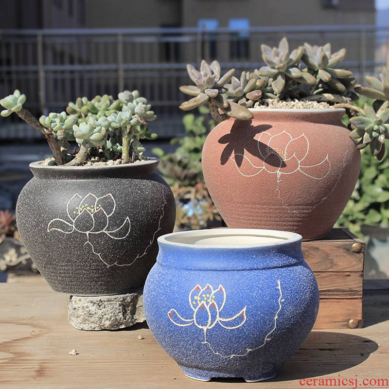 Fleshy flowerpot coarse pottery breathable restore ancient ways of large diameter special meat meat indoor ceramic creative move special offer a clearance